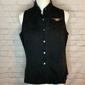HARLEY DAVIDSON Black washed denim vest